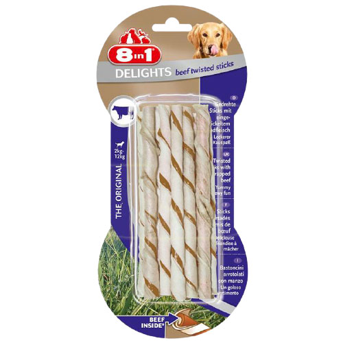 8 in 1 Delight Beef Twisted Sticks